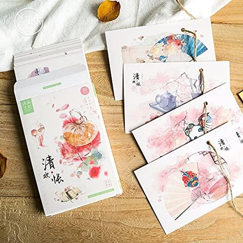 30 fogli/set cinese acquerello serie estetica cartolina/biglietto di auguri/messaggio carta/carta regalo busta lettera di compleanno