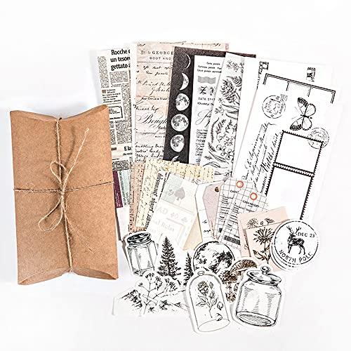 Vintage Scrapbook Stickers Pack, Decorative Moon Phase Plant Retro Paper Decals Nature Collection for Junk Journal DIY Arts Crafts Album Bullet Journals Planners