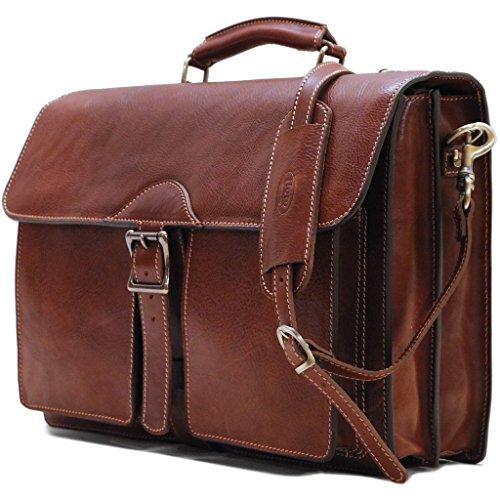 Floto Novella Roller Buckle Briefcase Messenger Bag in Full Grain Leather (Saddle Brown)