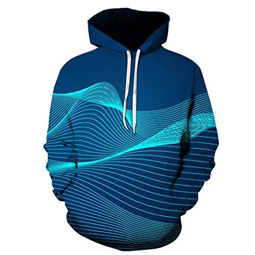 Sudadera con Capucha de Onda Lineal Azul Sudadera de Hip-Hop Unisex Pareja impresión Digital en 3D Adecuada para Deportes en casa al Aire Libre Suave, cómodo y Transpirable-Color_Small