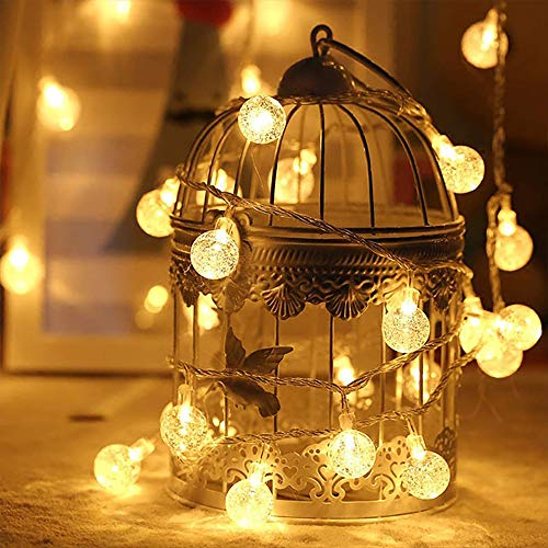 Christmas Lights Bubble Globe Bulbs String Lights 19.6 ft 40 LED Fairy Lights Battery Operated Waterproof for Xmas Garden Patio Bedroom Party Decor Indoor Warm White (Warm White Sphere)