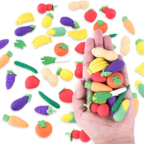 Colorful Mini Fruits & Vegetables Tiny Foods Miniature Pencil Erasers for Children Party Favors  Classroom Student Prize Packs  School Supplies  Toys & Games (12 Mini Bags  48 Erasers Total)