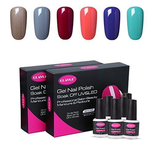 CLAVUZ Gel Polish UV LED Soak Off Nail Varnish Lacquer Manicure Pedicure Sets Beauty Salon Nail Arts Kits 6pcs