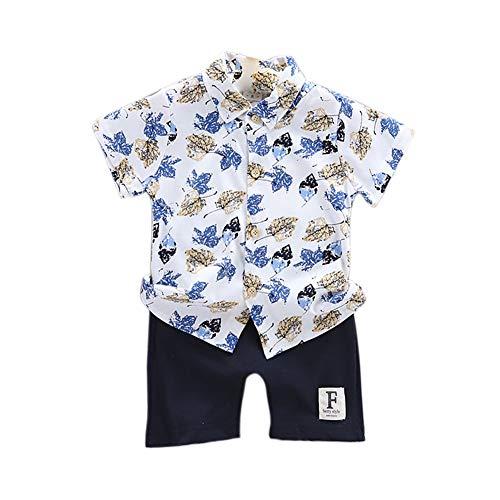 Gyratedream Jongens Klant Zomer Kids Jongens Korte Mouw Bloemen Print Tops Blouse Shirts+Shorts Kinderen Casual Outfits Sets,0-4 Jaar, 2-3 Jaren, Blauw