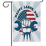 Zome Lag Garten Fahnen Hause Dekorative Haus Hof Flagge Happy Labour Day Arbeiter Rechts Doppelseitige Haus Hof Flagge,Amerikanische Flagge Saisonale Außen Fahnen 32X45.7CM