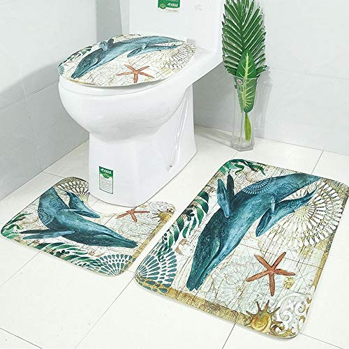 LAOSHIZI Alfombrillas de baño Suave Antideslizante Estampado Animal Marino Juego de alfombras de baño de 3 Piezas Alfombra de Contorno en Forma de U y Cubierta del Asiento del Inodoro Ballena