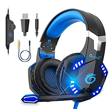 VersionTECH Stereo Gaming Headset for PS5 PS4 Xbox One PC Noise Reduction Over Ear Headphones with Mic Bass Surround & LED Lights for Laptop Mac Computer Nintendo Switch Xbox Series X/S -Blue