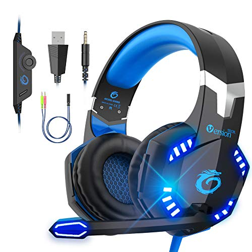 VersionTECH G2000 Pro Gaming Headset PS4 Xbox One Bedraad Hoofdtelefoon met 3D Surround Sound, HD Microfoon, Volume Control, LED Lampen, Compatibel met Playstation 4, Xbox 1, NS, PC Mac Computer (Blauw)