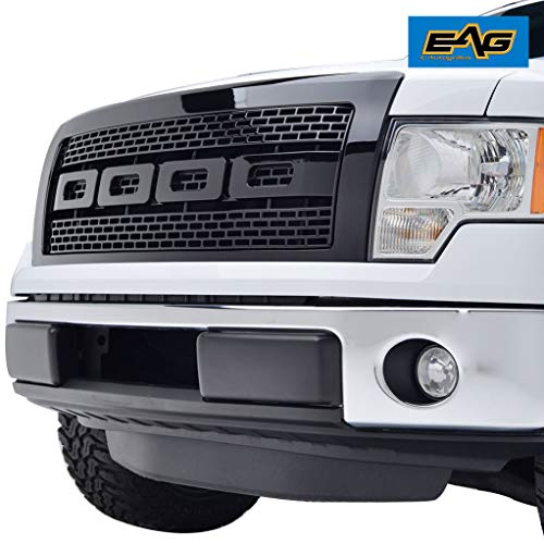 EAG Front Hood Grille ABS Replacement Upper Grill with Shell Black Fit for 09-14 Ford F-150