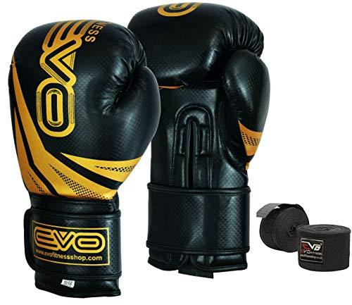 EVO Fitness Maya Leder Boxhandschuhe MMA Sparring Boxsack Muay Thai - Gold, 12oz