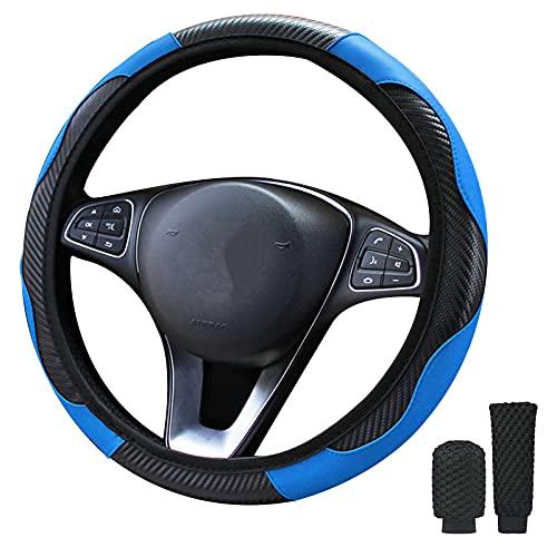 LMYDIDO Funda para volante de coche, 3 juegos de funda de cuero de microfibra con funda de freno de mano, funda de cambio de marcha, antideslizante, transpirable, tamaño universal, 37 – 39 cm (azul)