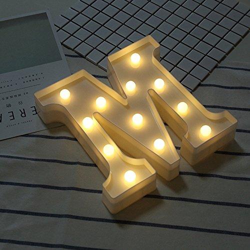 Beleuchtete Buchstaben Nachtlichter Dekoration LED Neon Lampen für Geburtstag Party Hochzeit Kinder Geschenk A-Z (M)