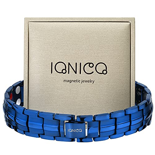 IONICO Magnetic Bracelet for Men and Women | Stress & Pain Healing Product | Alternative Blood Pressure and Circulation Medicine | Balance Therapy for Wellness and Strength (Blue)