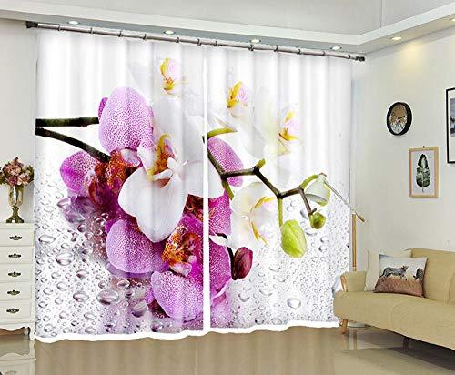 SFALHX 3D Vorhang Orchidee Polyester Blickdicht gardine Thermische Schalldämmung Mit Haken modern einfach Geeignet für Schlafzimmer Wohnzimmer 2 Stück,183x214cm(WxH)