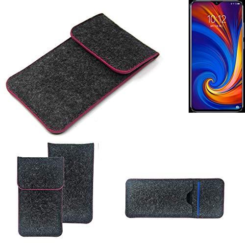 K-S-Trade Filz Schutz Hülle Für Lenovo Z5s Schutzhülle Filztasche Pouch Tasche Hülle Sleeve Handyhülle Filzhülle Dunkelgrau Rosa Rand