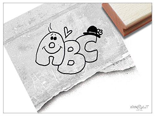Stempel - K 68 - Kinderstempel Motivstempel - Süße ABC Buchstaben für Schulanfänger - Bilderstempel zum Ausmalen für Kita - Kinderzimmer - Schule und Beruf