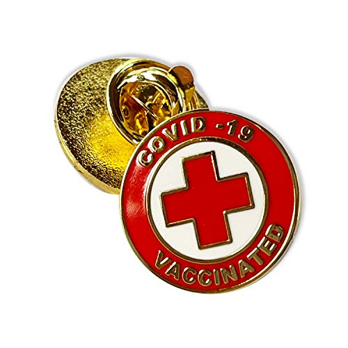 Vaccinated COVID-19 Coronavirus enamel Lapel Pin - Covid19 Bage gold plated pin - Brooch Vaccinated memorial for bag shirt - red cross alert symbol USA pin (1)