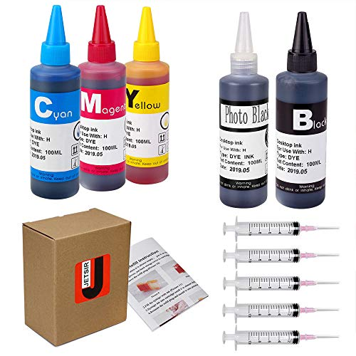 JetSir Refill Ink Kit for HP 564 364 920 02 63 Inkjet Printer Cartridges, Refillable Cartridges, CISS, 5 Color (1 Black 1 Photo Black 1 Cyan 1 Magenta 1 Yellow) 100ML x5, with 5 Syringe and Instruction