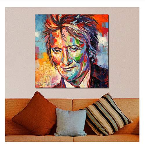 nr Leinwand Malerei Rod Stewart Gemälde auf Leinwand Moderne Wandbilder für Wohnzimmer Home Decor No Frame Ölgemälde-60x60cm No Frame