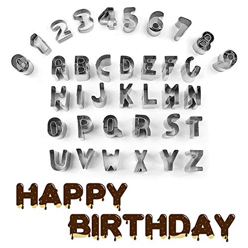 Gxhong 36 pezzi Tagliabiscotti Set Biscotti Stampi Alfabeto Numeri Formine Acciaio Inossidabile Decorazioni Dolci per Biscotti Fondente Biscotti Sciroppo Zucchero Di Mandorle