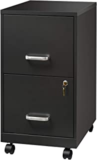 """AD ARAZY 2 Drawer File Cabinet, 18"""" Deep Metal Filing Cabinet with Lock, Made by Thick Metal Materials with Smooth Casters, Letter Size(Grey)"""