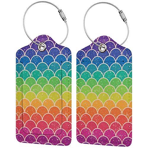 Leather Luggage Tag, Rainbow Fish Scale 2 Pcs Travel Suitcase Bag Tag Eaiser to Identify ID Labels with Stainless Steel Ring Privacy Cover