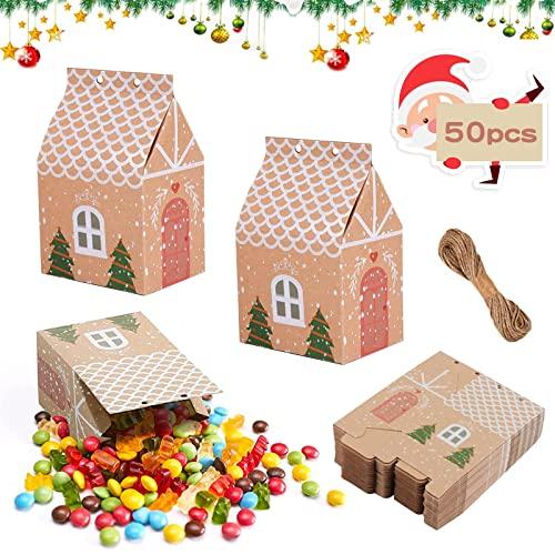 50 piezas Cajas de Dulces Navideñas de Papel Kraft, Cajas de Papel Fiesta Navidad, Diy Cajas De Cartón Kraft,Adecuado para Fiestas de Navidad, Bodas, Envases de Regalo de Cumpleaños