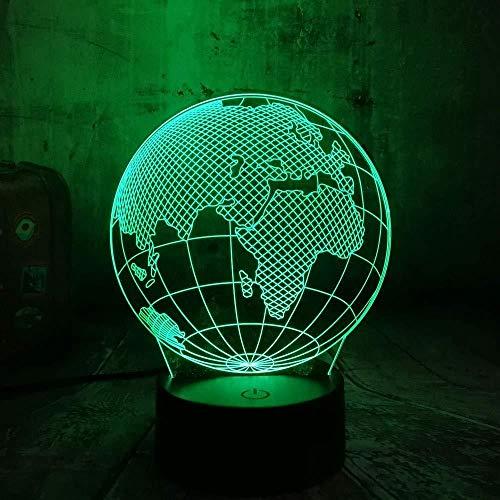 3D Lampe De Nuit Bébé Monde Géographie Terre Globe Art Sculpture Optique Bouton Tactile Bouton Enfants Nuit Lumière Led Lampe Cadeau Bébé Illusion Décor Lampes