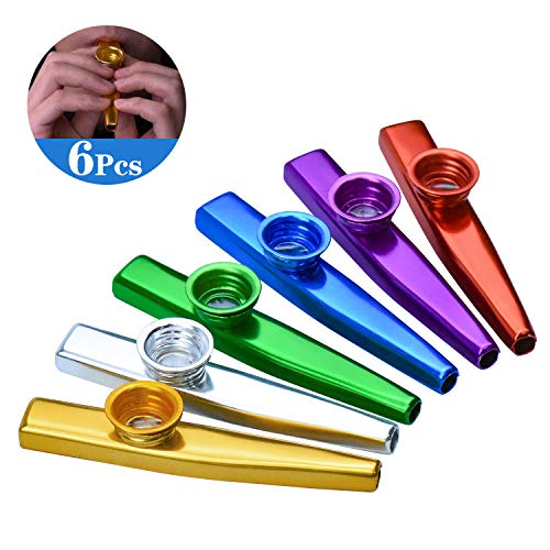 WEKON 6 stuks Kazoo muziekinstrumenten van metaal, een goede metgezel voor gitaar, ukelele, viool, pianotoetsen, leuk cadeau speelgoed voor kinderen muziekliefhebbers, 6 kleuren