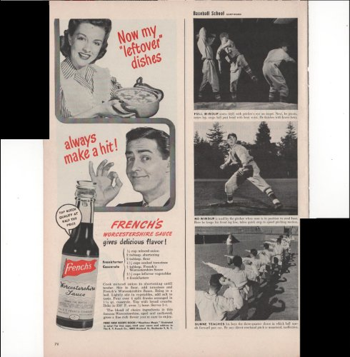French's Worcestershire Sauce Now My Leftover Dishes Always Make A Hit! 1946 Vintage Antique Advertisement