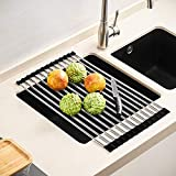 JOMOLA - Escurreplatos enrollable sobre el fregadero, plegable, cubierta de silicona durable, extremos de varilla de acero inoxidable, utensilios de cocina multiusos