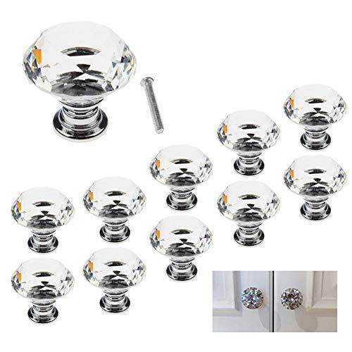 Dlife Schrank Knöpfe Kristall - 10 Stück 30 mm Schrankknöpfe Schubladenknöpfe Möbelknöpfe Kristall Möbelgriffe Möbelknauf Schrankgriffe für Küche Büro