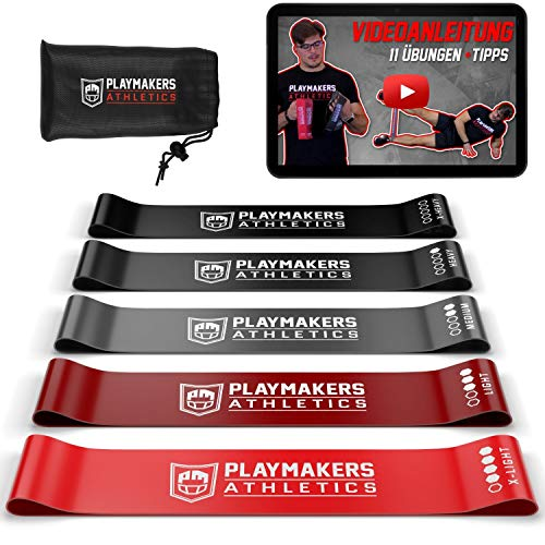 Playmakers Resistance Bands 5er Set | elastisches Fitness Band aus Naturlatex | Loop Band 5 Stufen | Widerstandsbänder Krafttraining mit Video Guide und Tasche
