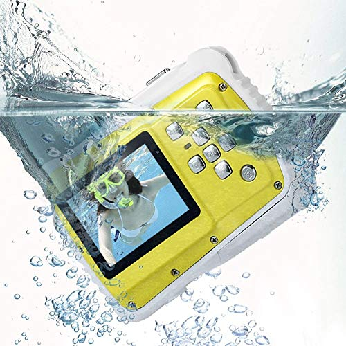 XRQ Fotocamera Digitale Impermeabile per Bambini Sport Action Camera Display LCD da 2,0 Pollici Zoom 4X per Immersioni subacquee per Bambini,Giallo