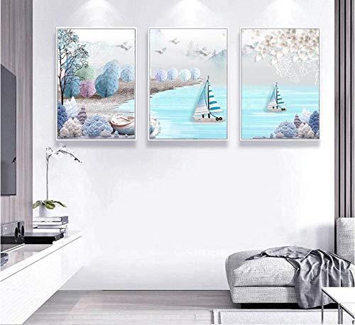 SRDFDF 3 Piezas Minimalista mediterráneo mediterráneo Relieve Abstracto nórdico Pintura Decorativa sin Marco 3 Paneles Lienzo póster Pared 30x40 cm sin Marco
