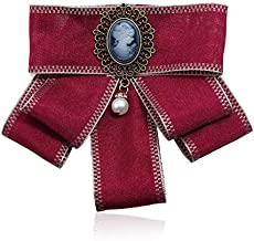 Women Rhinestone Striped Pearl Satin Ribbon Bow Tie Brooch Pin Wedding Jewelry | Color - #31