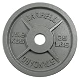 Weight Plate-Olympic Cast Iron Grip Plates,Strength Training Plates Fit 2-inch Olympic Barbell for Strength&Weightlifting&Crossfit,Bumper Plates Black Baked Enamel Finish,Various Sizes (e-35LB,Single)