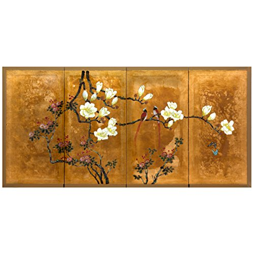 ORIENTAL Furniture Love Birds on Traditional Gold Leaf