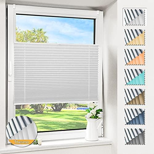Magiea Plissee ohne Bohren verdunkelung, Thermo Plisseerollo Klemmfix, Weiß-Thermo 60x120cm(BxH), Verdunklungsplissee mit Klemmträger, Faltrollo Blickdicht für Fenster & Tür, Sichtschutz Sonnenschutz