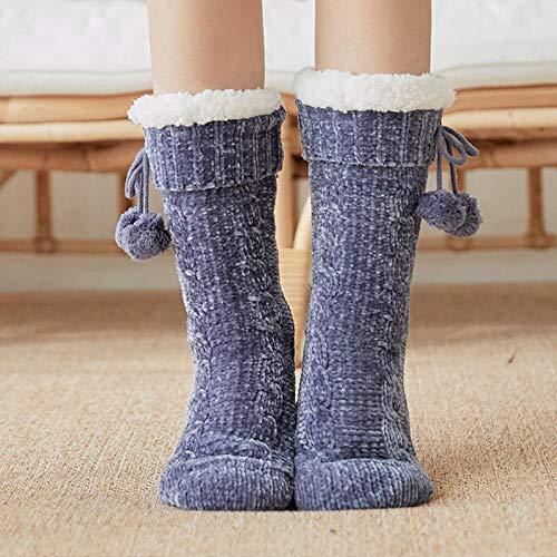 Zapatillas Casa Hombre Mujer Zapatillas De Invierno para Mujer, Calcetines De Crochet para Mujer, Pantuflas, Calcetines Gruesos para Dormir, Pantuflas, Botón De Felpa, Calcetines Cálidos De Tubo