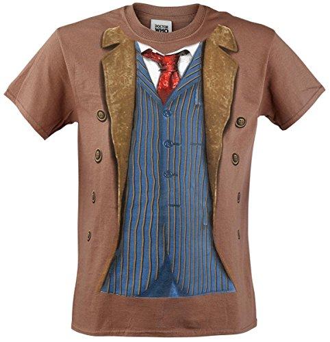 Doctor Who 10th Doctor Camiseta Marrón, Corte Normal