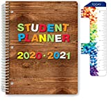 Dated Elementary Student Planner for Academic Year 2020-2021 (Block Style - 8.5'x11' - Wood Letters Cover) - Ruler/Bookmark and Planning Stickers