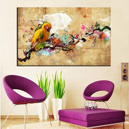 wZUN Pintura al óleo Abstracta Moderna del pájaro del Loro Pintura en la Lona impresión del Cartel Cuadro de la Pared Sala de Estar decoración del hogar Regalo 50X75cm
