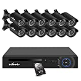 Zclever 16 Channel Security Camera System, 1080P Lite 16 Channel Hybrid DVR Recorder with Hard Drive 2TB and 12pcs 720p Surveillance Bullet Camera Outdoor Indoor with Day Night Vision