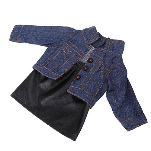 Toygogo Neue Heiße Puppe Outfit Set Jeansjacke PU Leder Röcke Casual Dress Up Für 18 '' Ameircan Girl Doll Zubehör