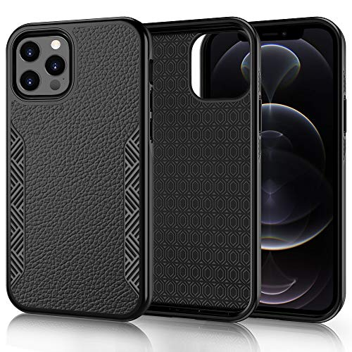 """Skycase Compatible for iPhone 12/12 Pro 5G 6.1"""",[Resist Harmful Organism] Durable Rugged Dual Layer Protection Cover with Scratch-Resistant and Shockproof for iPhone 12/12 Pro 6.1"""",2020 Black"""