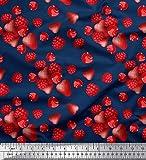Soimoi Blau Satin Seide Stoff Himbeere, Erdbeere und