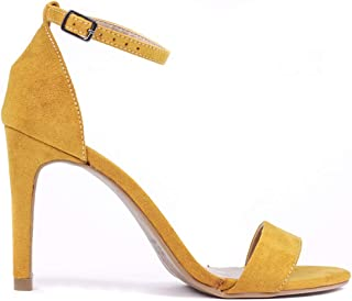 Sandalia Fame Aveludado Minimalista Salto Fino Pulseira Amarelo