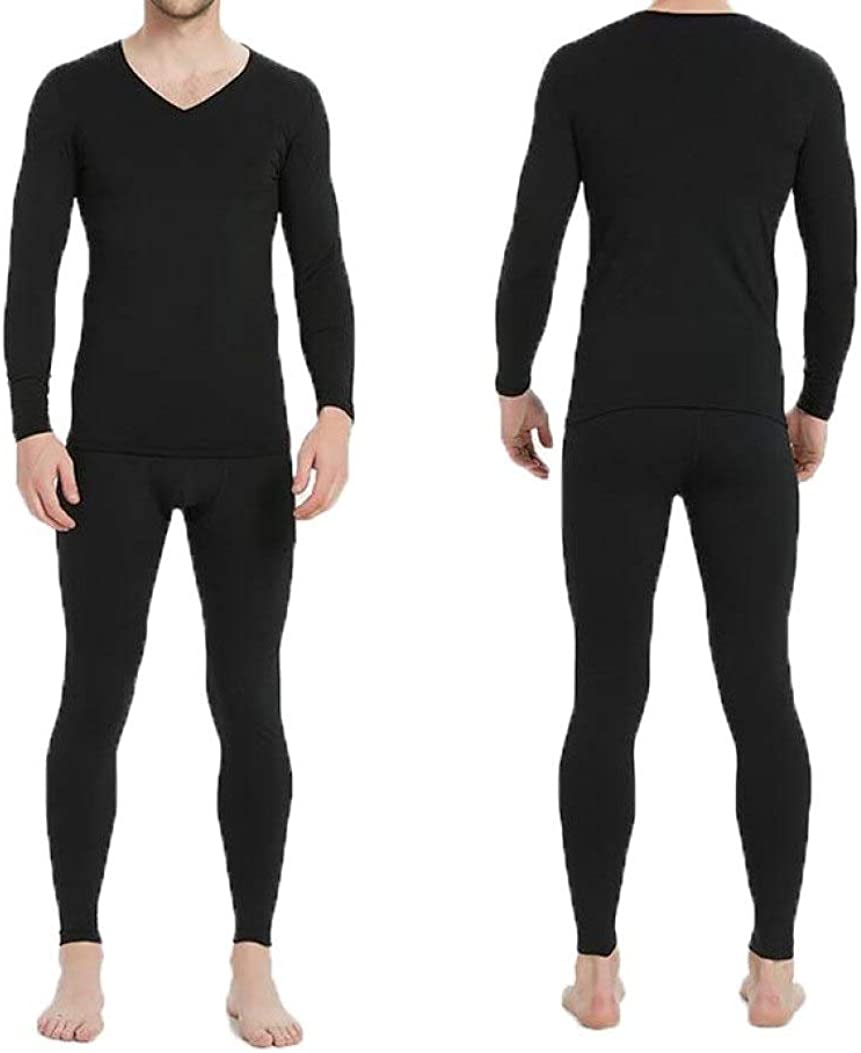 Mens Long Thermal Underwear V-Neck Winter Base Layering Set Top and Bottom Long John Set
