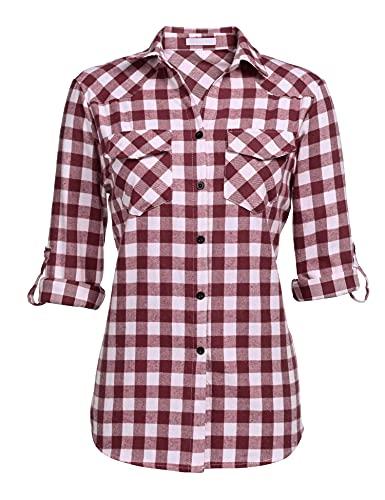 UNibelle Kariertes Hemd Damen Langarm Karohemd Bluse Damen Baumwolle mit Einstellbare Ärmeln(Weinrot,XL)